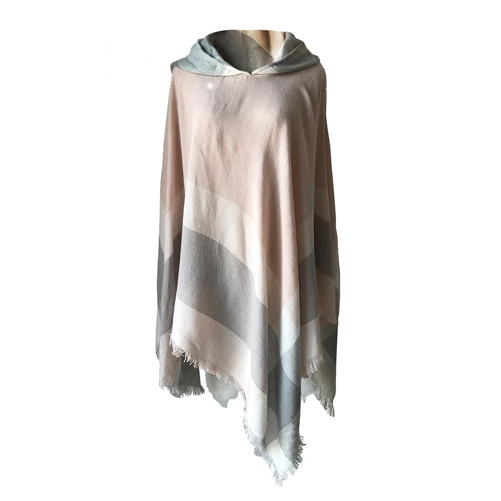 Elegant Women Hooded Tassel Poncho Fashion Plaid Shawls Scarf Female Autumn Winter Warm Keeping Pullover Wraps Pashmina Scarves