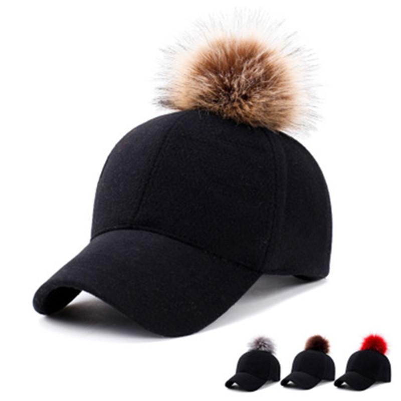 5a114166b2c New Baseball Cap Winter Women Pom Pom Hat Fashion Cotton Snapbacks Hats  Warm Female Felt Solid Hip Hop Adjustable Girls Caps Brixton Hats Trucker  Cap From ...