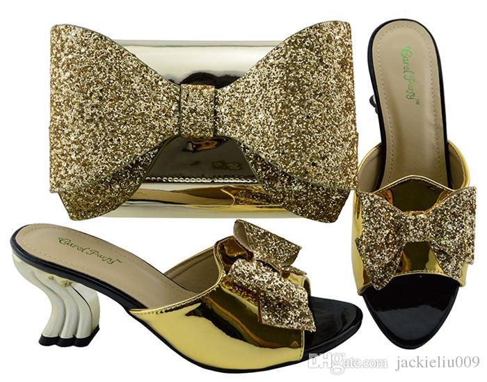 Alta qualidade preto gatinho calcanhar 7 CM mulheres sapatos com sapatos africanos bowtie e bolsa conjunto para vestido YM001A