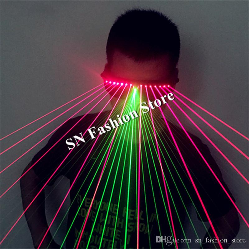 T91 Red laser light glasses disco green dj glasses ballroom dance costumes laser man show colorful disco robot models projector performance