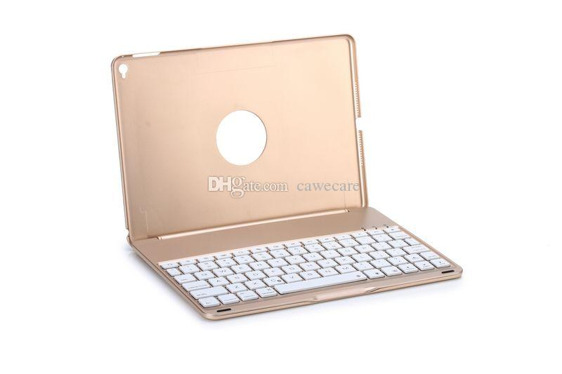 Pad Air 2 Smart Cover Wireless Bluetooth 4.0 Keyboard Aluminum ABS Backlit C090 with 500mAh Battery