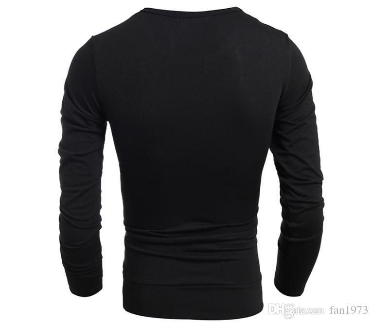 2018 yeni butik Avrupa ve Amerikan erkek moda dikiş İnce uzun kollu Tişört