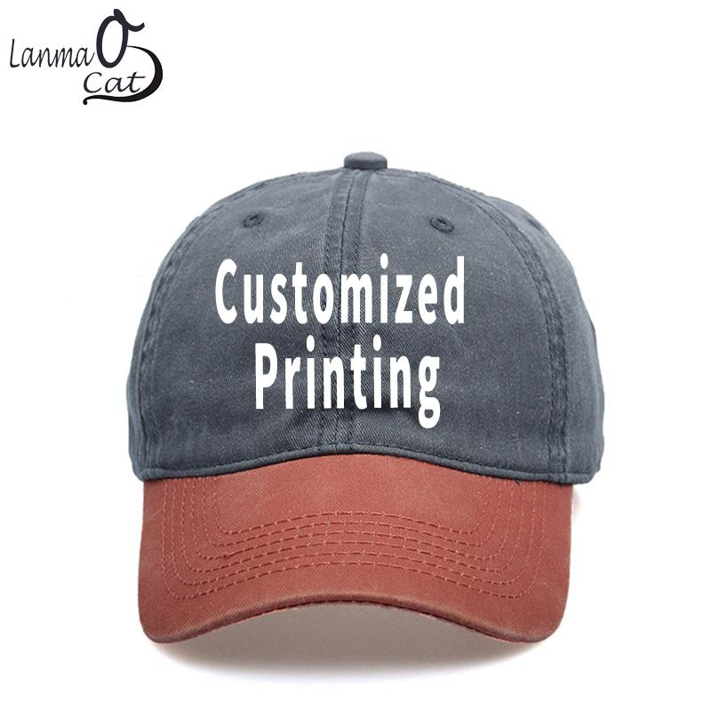 21ac108c8e6 Lanmaocat Logo Text Print Denim Cap Custom Print Denin Baseball Cap For Men  Women Hat Adjustable Baseball Custom Hat Caps For Men From Jianyue16
