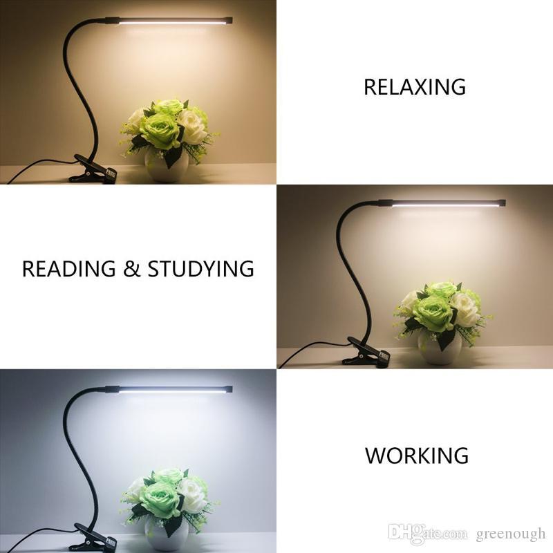 LED Desk Lamp Regulável Eye Proteção Noite clipe Light Reading Flex Pinça Lamp On Luz Mesa de Luz USB