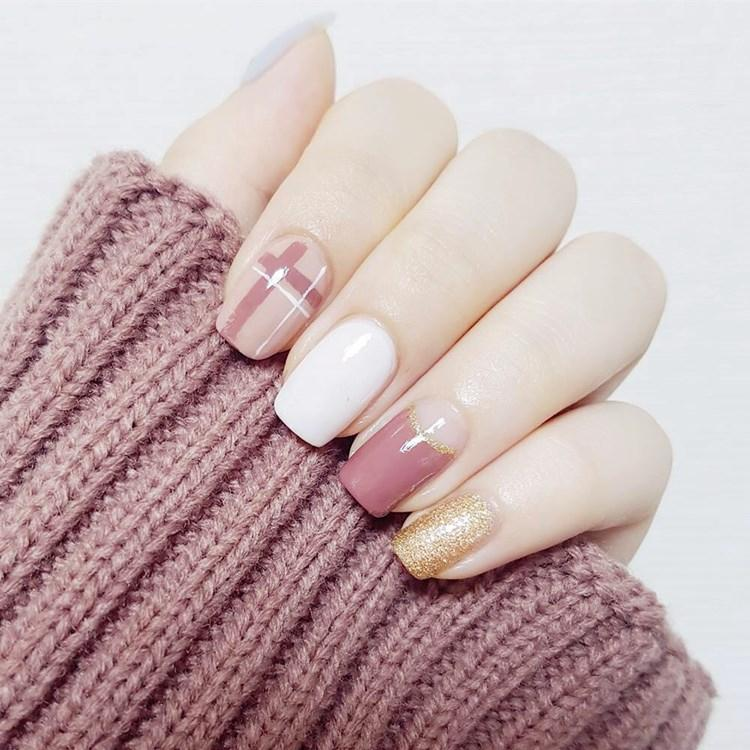 Fashion Fake Nails Glitter Gold White Pink Mauve Square Artificial ...