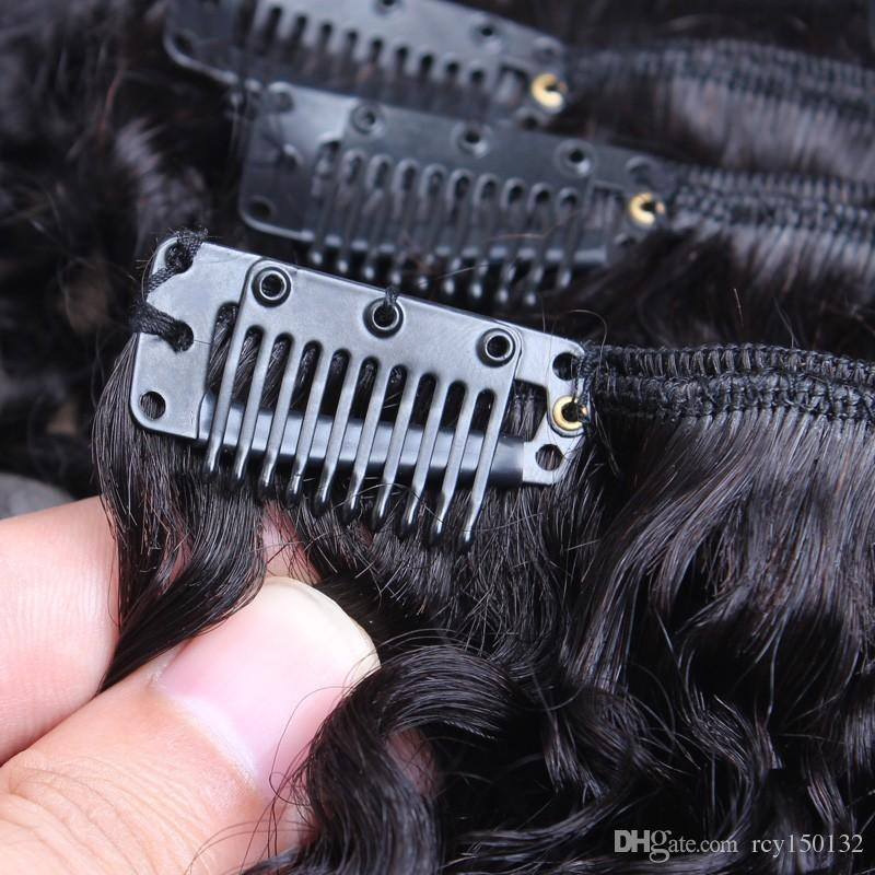 Brazilian Kinky Curly Hair Clip in Human Hair Extensions Natural Color Remy Hair Clip-ins 100g