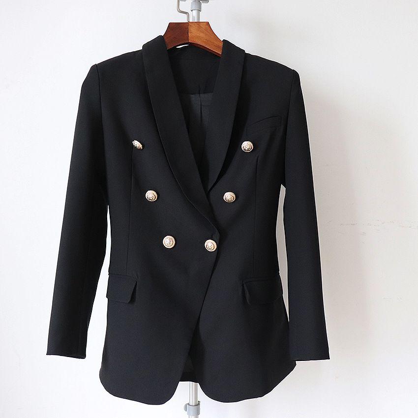 라벨 브랜드 B 최고 품질 원래 디자인 여성의 더블 브레스트 슬림 자켓 금속 버클 재킷 레트로 숄 칼라 착실히 보내다 새로운