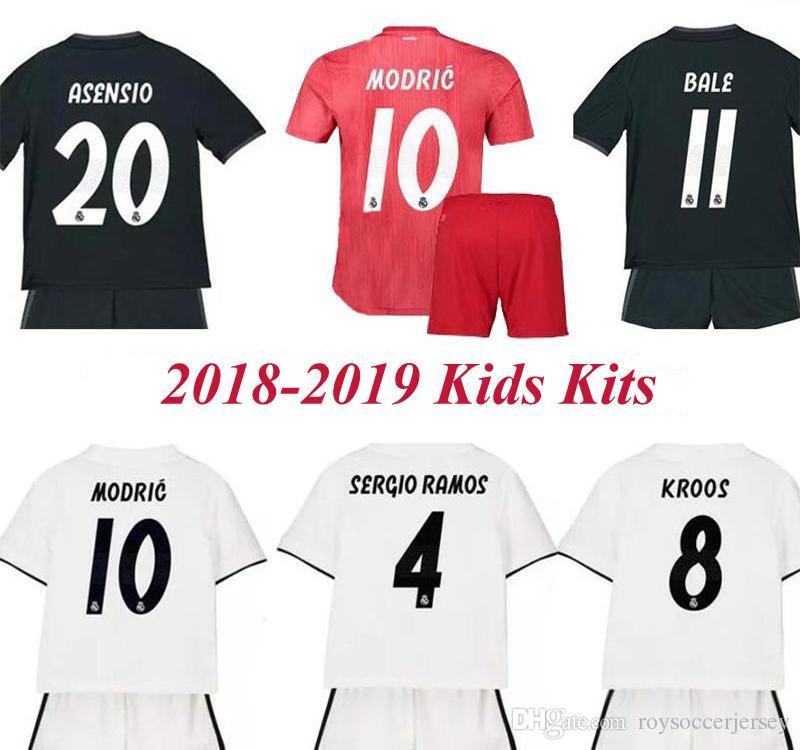53ac11f2b 2018 2019 Kids Kit Real Madrid Soccer Jersey 18 19 MODRIC Youth ...
