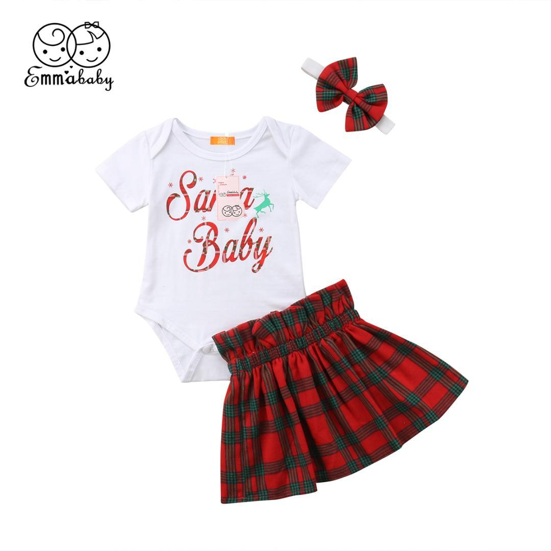 ffaad3584209 2019 Toddler Girls Clothes Sets Summer Children Clothes Short Sleeve Santa  Baby Tops+Plaid Skirts+Headband Christmas Outfits Set From Coolhi