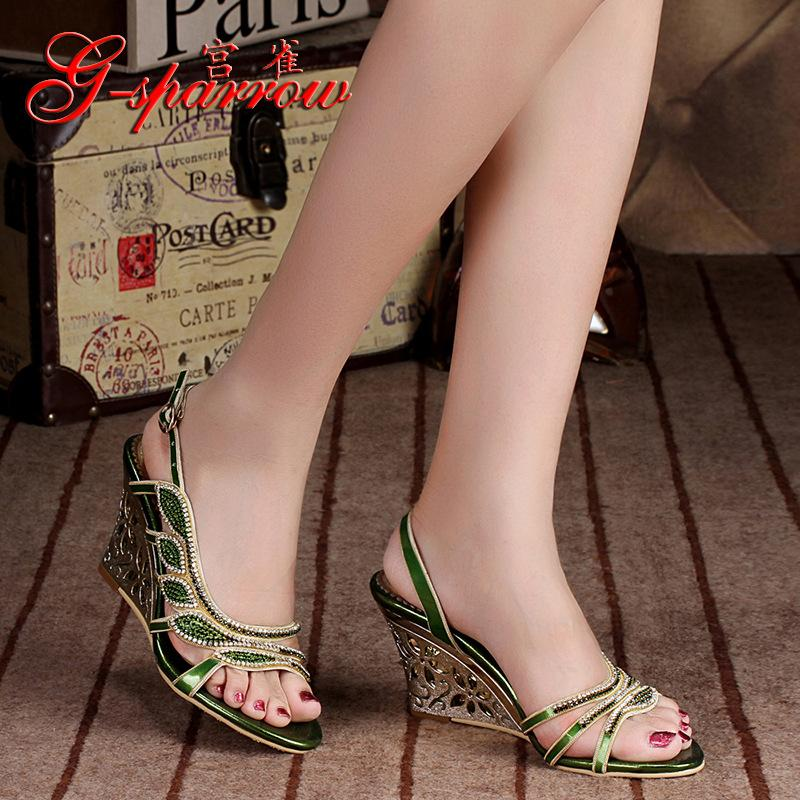fac41174aad7eb 2018 Summer New Luxury Diamond Shoes Women 8cm High Heels Sexy Wedge Sandals  Big Size 11 Salt Water Sandals Bridesmaid Shoes From Wangleme012