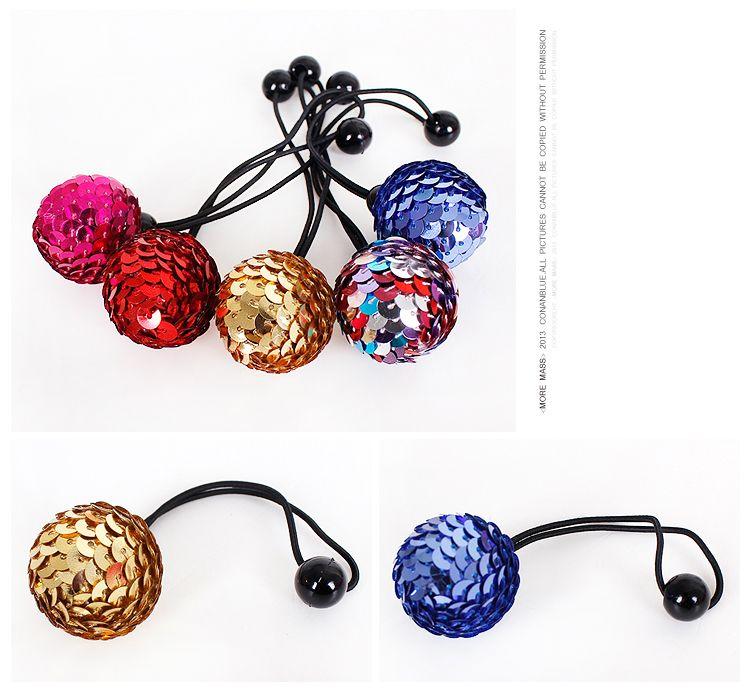 Pretty Dots Elastic Hair Tie Hairband Rubber Band Ponytail Holder Bracelets Glittle Ball headwear hair accessories H24