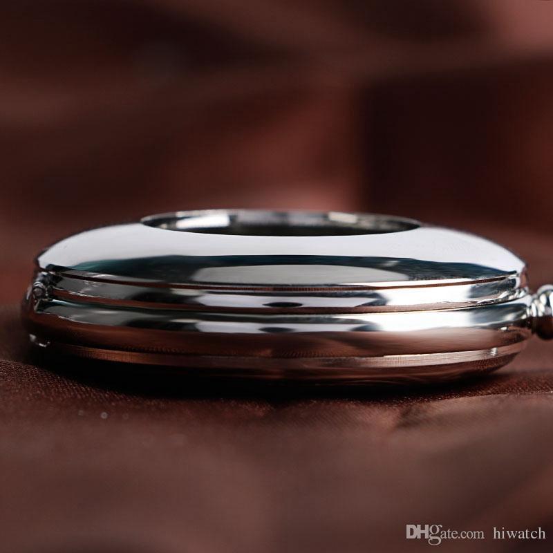 Moda Suave Prata Automática Mechancial Relógio de Bolso Romanos Numeriais Dial Pingente com CORRENTE DE RELÓGIO FOB para Homens Mulheres Presente