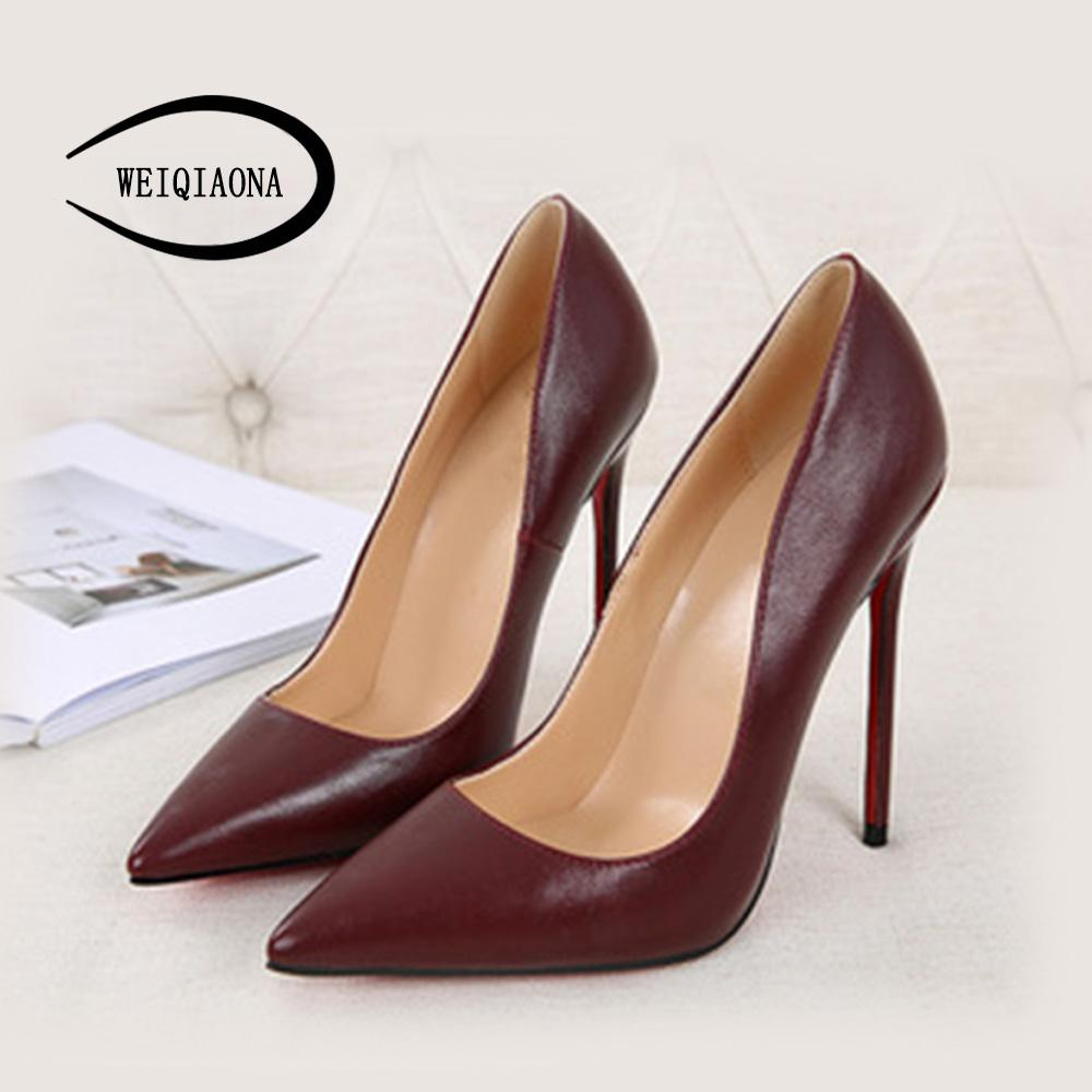 f57c8c101ae Wholesale 2018 Women Shoes New Genuine Leather High Heel Pointed Toe ...