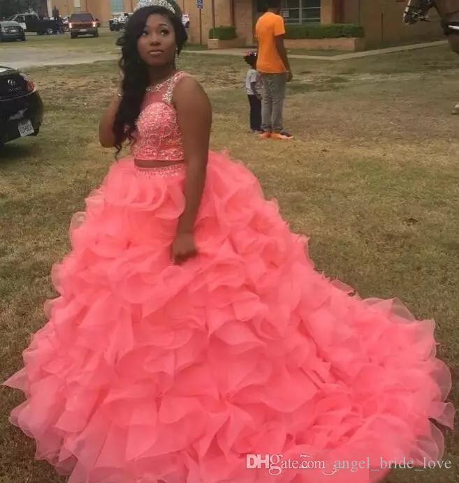 2018 New Quinceanera Dresses 2018 Modest Masquerade Two Pieces Ball Gown Prom Dress Sweet 16 Girls Lace Up Back Sweet 16 Prom Gowns Q39