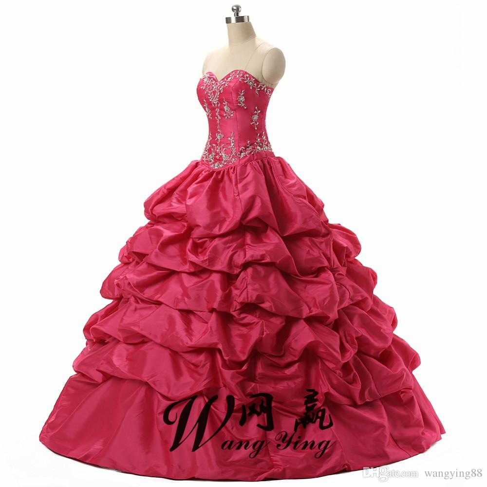 Hot Pink Debutante Sweet 16 Girls Masquerade Ball Gowns Sequin Embroidery Vestidos De 15 Anos Quinceanera Dresses