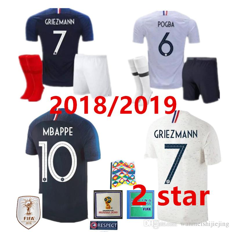 4486fe41bfb Kit 2 Star GRIEZMANN MBAPPE POGBA Soccer Jersey 2018 World Cup Shirt ...