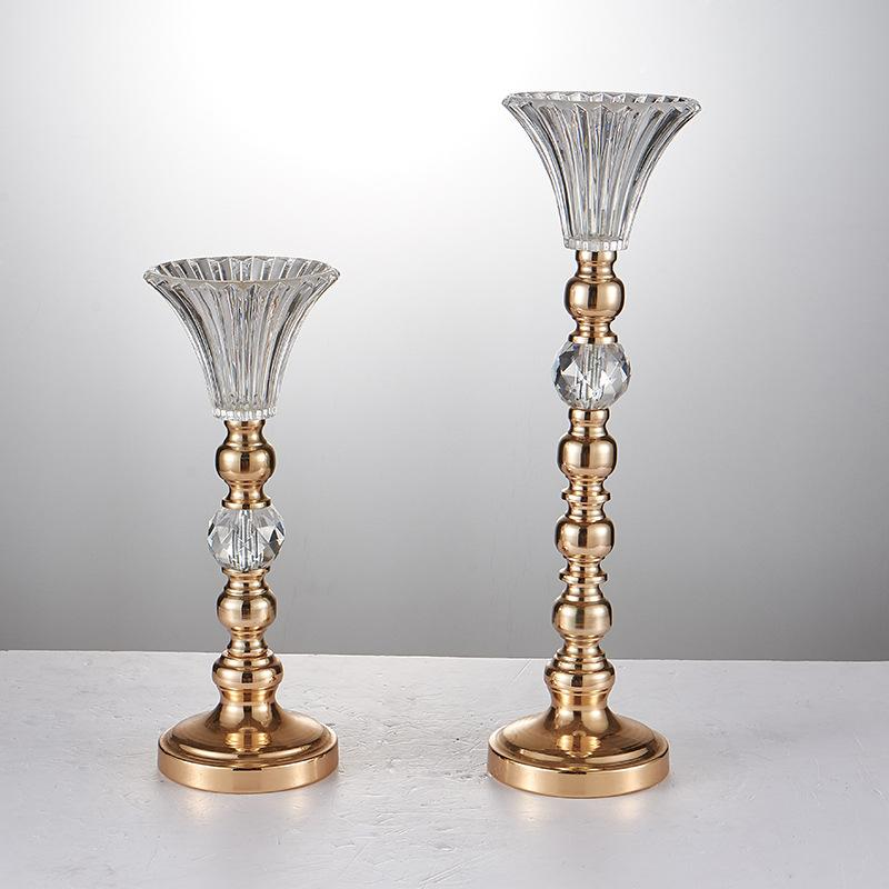 Wholesale Wedding Props Crystal Glass Metal Pillar Vase For Wedding