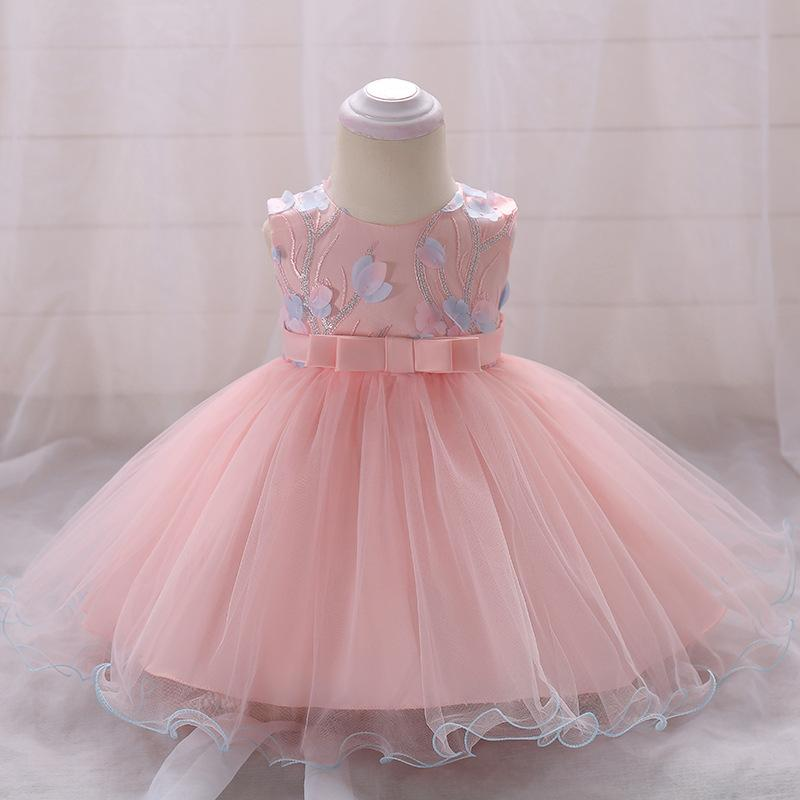 2019 Party And Wedding Kids Clothes Robe Fille Toddler Birthday Outfits Children Clothing Sleeveless Pink Blue Girl Dresses With Bow From Bosiju
