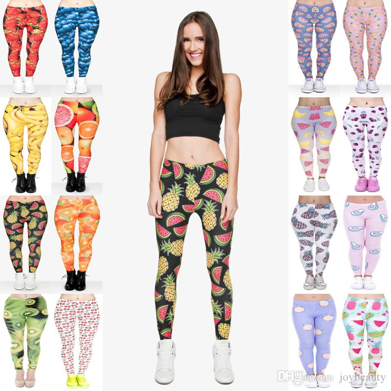 d79ff5ee5b 2019 Women Leggings 16 Styles Mix Strawberry Blueberry Citrus Banana Peach  Avocado Cherry Kiwi Watermelon Pineapple 3D Print Soft Pants JL008 From  Joybeauty ...