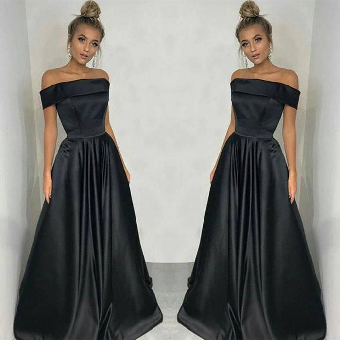 Black Stain Dresses Evening Wear Dubai Cheap Party Dresses Arabic Women Off The Shoulder Straight Prom Dress Middle East Formal Gowns