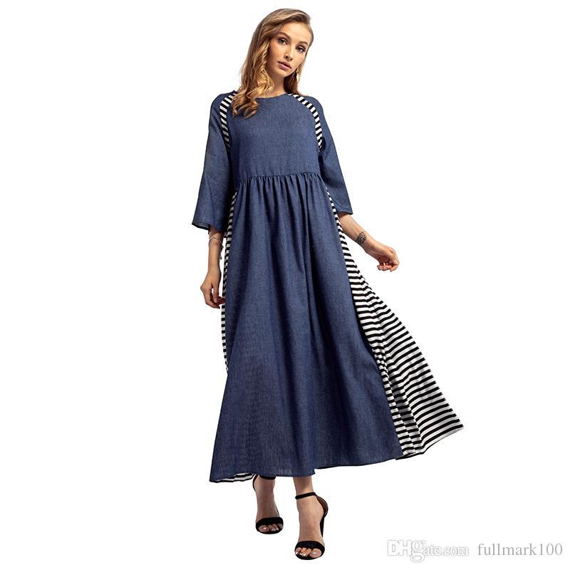Compre 2018 Elegantes Mujeres A Rayas De Costura Vestidos Largos De ...