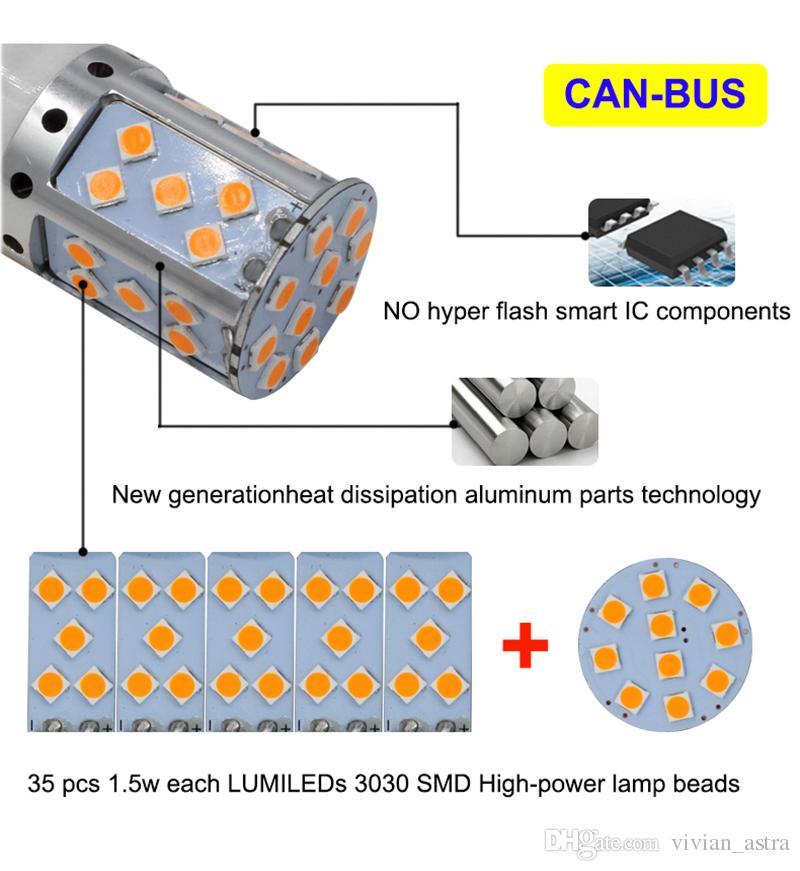 Luz trasera 1156 P21W PY21W 7440 3156 LED Canbus S25 3030 35SMD Lámpara de freno automático Lámpara trasera DRL Bulbos de estacionamiento ámbar / amarillo