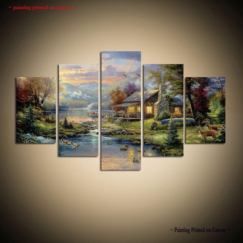 2018 Large Modern Thomas Kinkade Landscape Oil Painting Reproduction ...