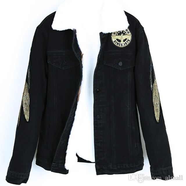 dde16e3a4 New Women Angel Wings Embroidery Jeans Overcoat Ladies Jackets Tops Turn  Down Collar Slim Black Jeans Top For Women High Quality