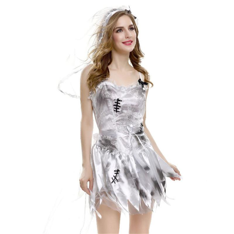 Dead Bride Halloween Costume.High Quality Sexy White Ghost Bride Costume Day Of The Dead Corpse Bride Cosplay Party Dress Scary Halloween Costumes For Women
