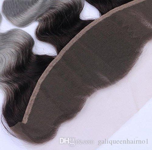 13x4 1B/Grey Ombre Lace Frontal Body Wave Dark Root Human Hair Closure with Baby Hair