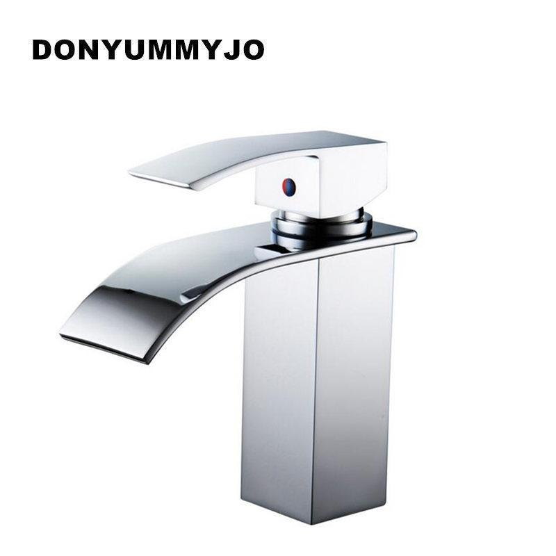 2018 High Quality Brass Waterfall Sink Faucet Chrome Single Handle ...