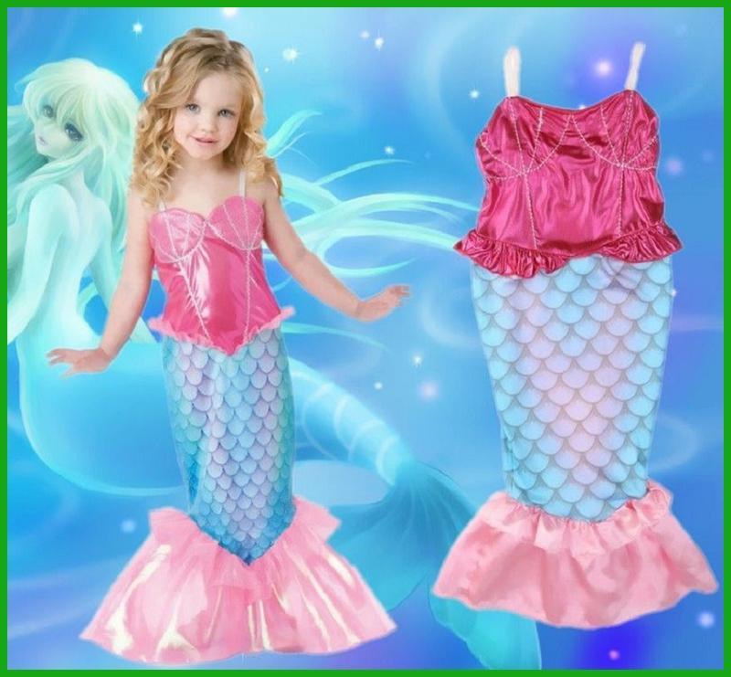 6564e64871a0 Acquista Pink Blue Bambini Mermaid Tail Costume Halloween Fancy Kids Mermaid  Vestiti Cosplay Little Ariel Princess Dress For Girls A  21.63 Dal Hongyeli  ...