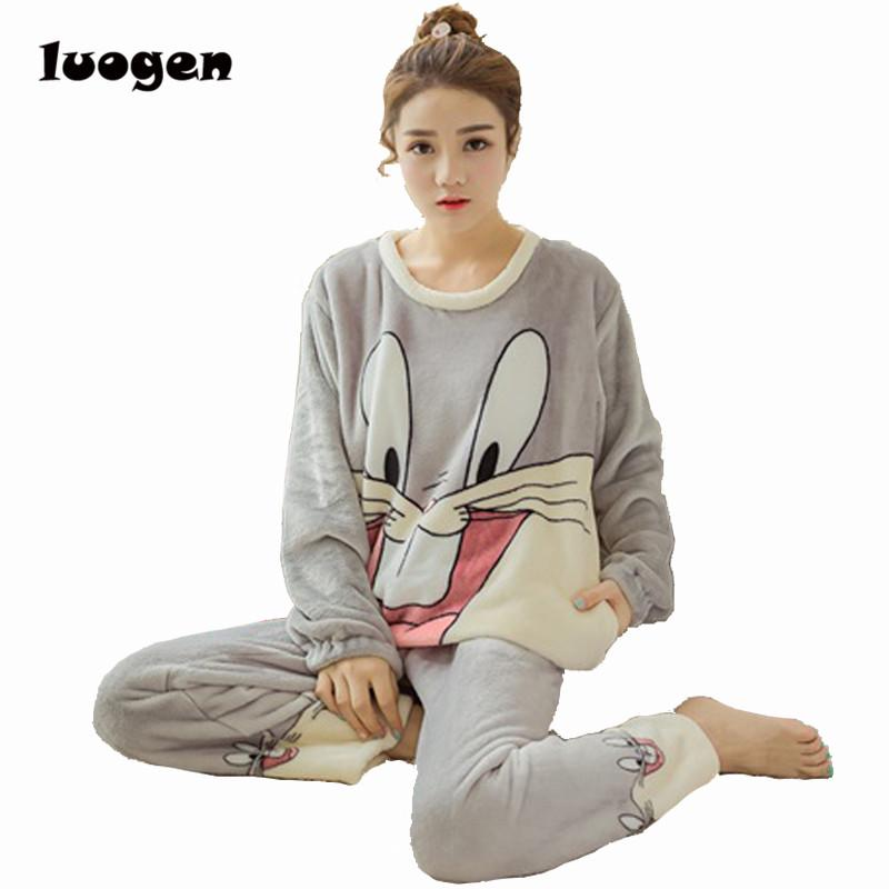 2019 Winter Women Flannel Pajamas Set Sleep Jacket Pant Sleepwear Warm Nightgown  Female Cute Cartoon Bugs Bunny Pants Sleepwear From Cutee 21e559ef3