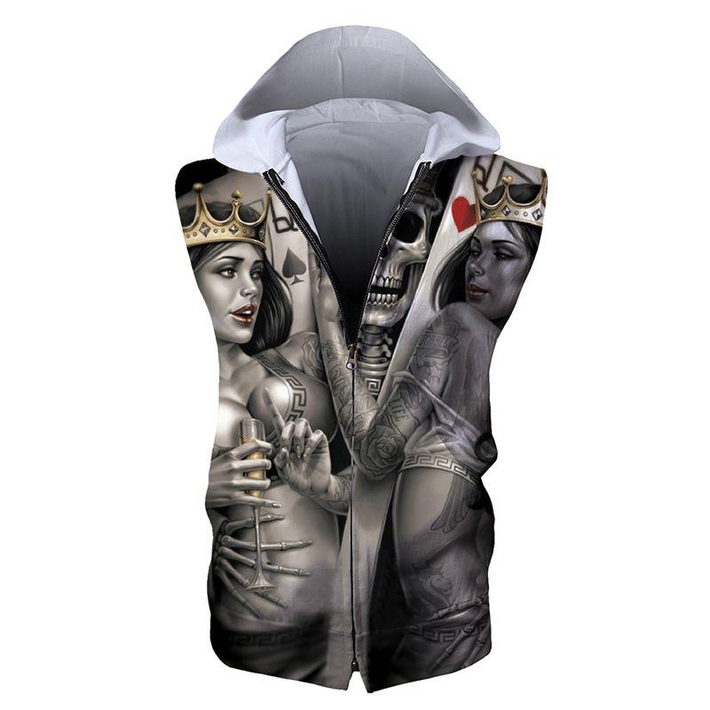 47a6f55b86f8c 2019 Men Zipper Sleeveless Hoodie Skull 3D Full Print Man Zip Hooded  Sweatshirt Unisex Casual Hoodies Sweatshirts Digital Tops RLSZJ 55029 From  Joybeauty