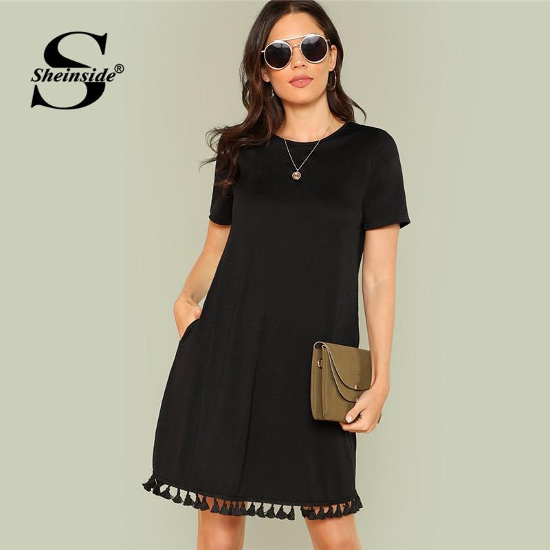be6e99b3e88b Sheinside Black Shift Kleid Büro Damen Arbeitskleidung Taschen Quaste  EleDress Sommer Kurzarm Plain Casual Kurzes Kleid