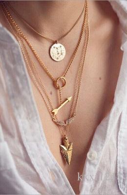 Avrupa ve Amerika Birleşik Devletleri moda trendi büyük mizaç kolye çok katmanlı metal basit vahşi kısa paragraf klavikula zinciri