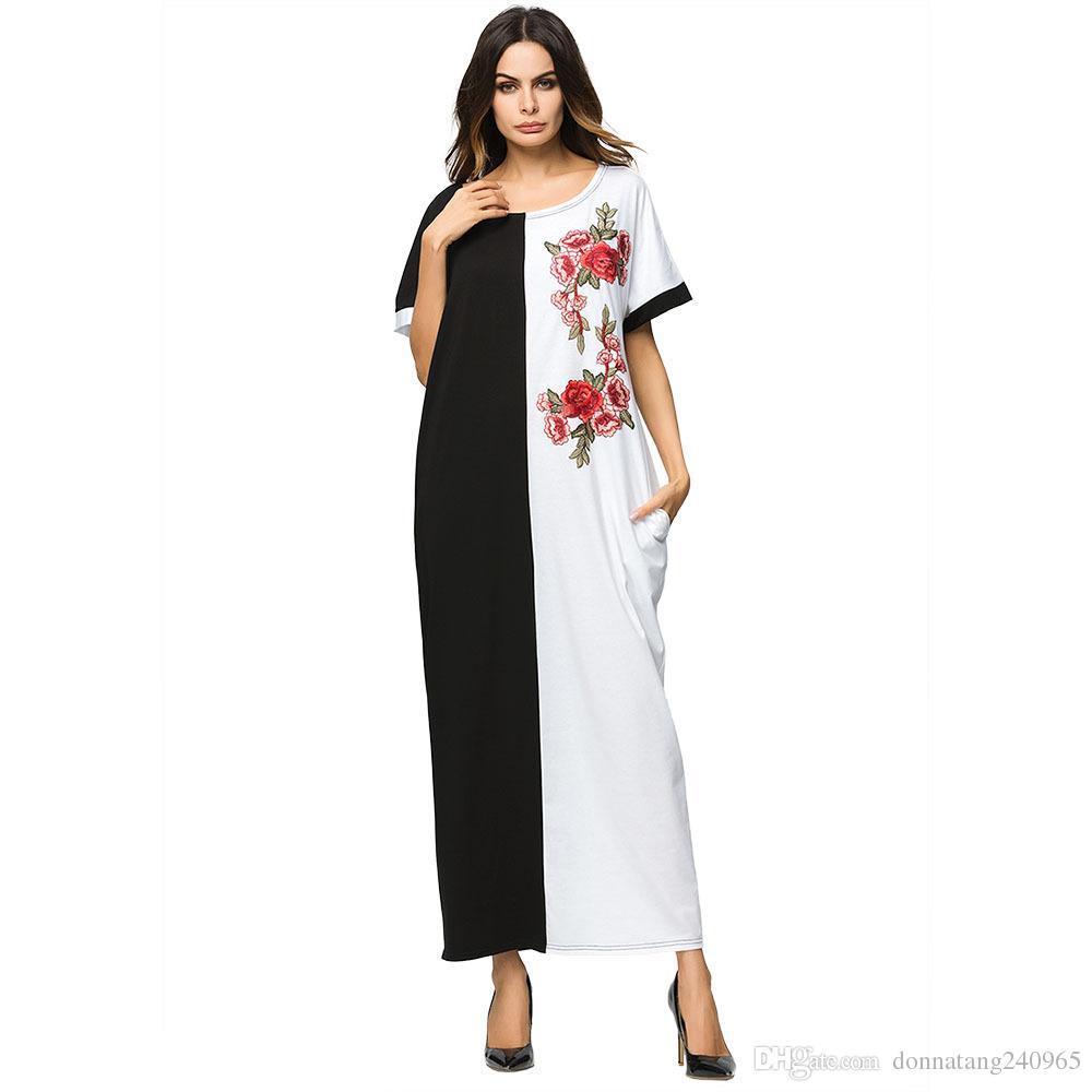 5fe56dadbb8fe Middle East Muslim Women Fashion O-Neck Short Sleeve Panelled Casual Loose  Knit Floral Applique Long Dress Ramadan Eid Robe Abaya Gown
