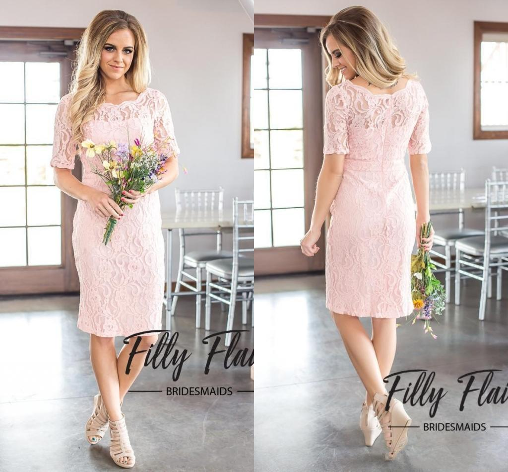 f4f6190bca2 2018 Bridesmaid Dresses Prom Dresses PinK Lace Bridesmaids Dresses Wedding  Guest Dress Scalloped Half Sleeve Knee Length Custom Made Child Bridesmaid  ...