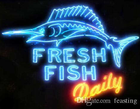 Custom New Fresh Fish Daily Real Glass Neon Sign Light Beer Bar Sign Send need photo 19x15""