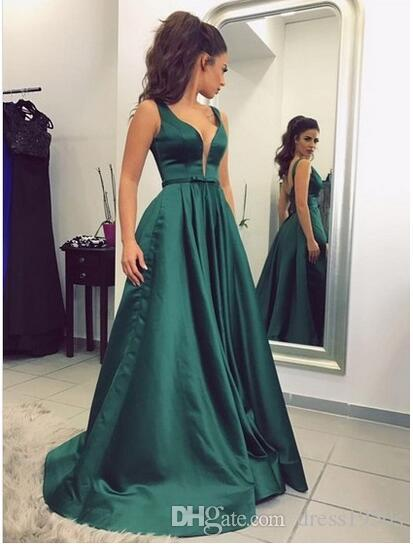 cab8d44d0f0ff5 A Line Satin V Neck Long Green Prom Dresses Sweep Train Abiti Da Cerimonia  Donna Evening Formal Dress Women Evening Dress Online Malaysia Evening Dress  Plus ...