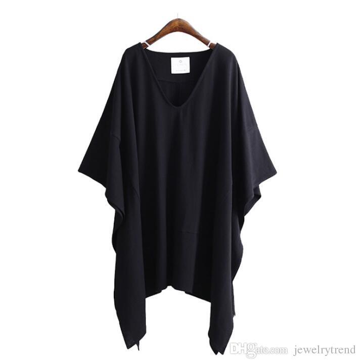 2018 Europa Sommer Frauen lose T-shirt V-Ausschnitt Fledermaus-Flügel Ärmel Unregelmäßige Plus Size Tops T-Shirt Damen Casual Baumwolle T-Shirts C3354