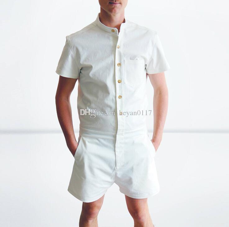 8ac930a26d59 2019 Men S Rompers Short Sleeve Jumpsuit Romper Playsuit Beach Overalls One  Piece Slim Fit Brand Clothing Dropship From Heyan0117