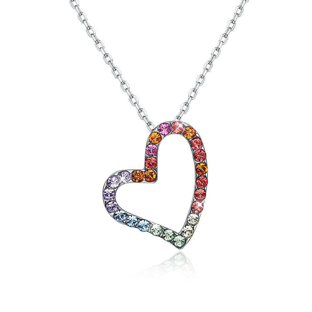 Crystal From Ornaments, European and American Creative Silver 925 Heart Shaped Diamond Necklace for Women.