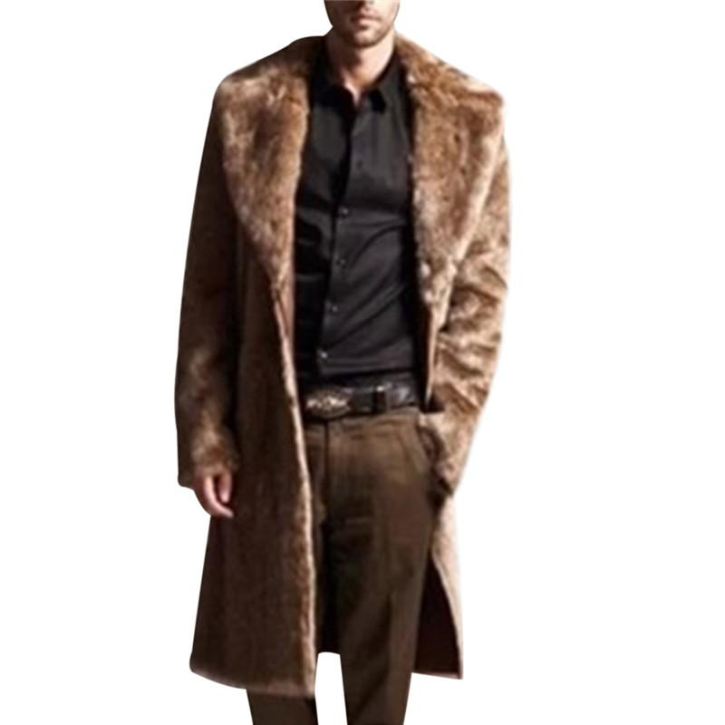 Men Leather Overcoat Long Faux Fur Trench Coat Winter Faux Fur Jacket Mens Punk Fluffy Parka Jackets Male Coat Manteau Plus Size