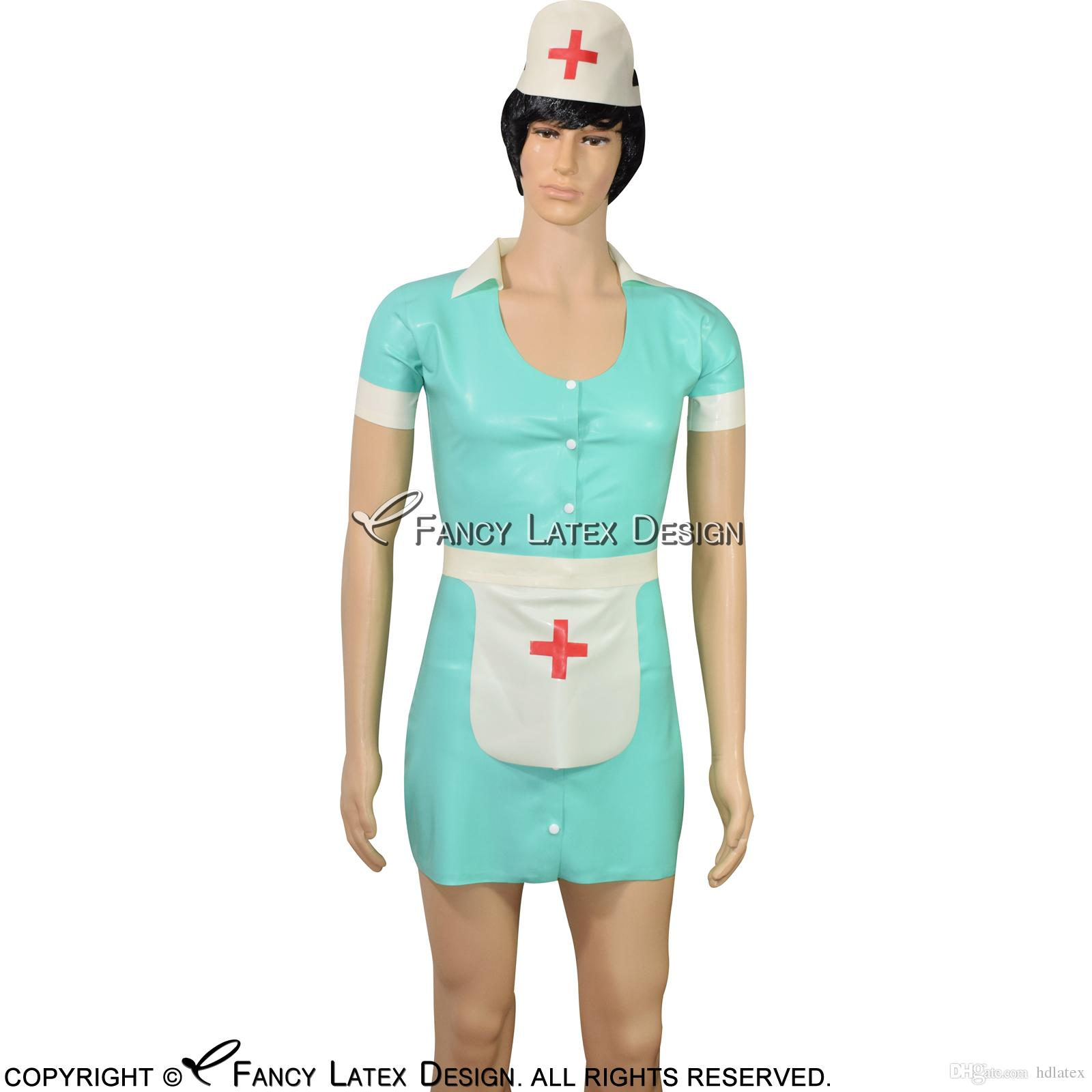 Black With White Sexy Latex Nurse Dress With Red Cross Rubber Uniform With Headgear Apron Button At Front Latex Dress Lyq 0055 Princess Costumes Halloween