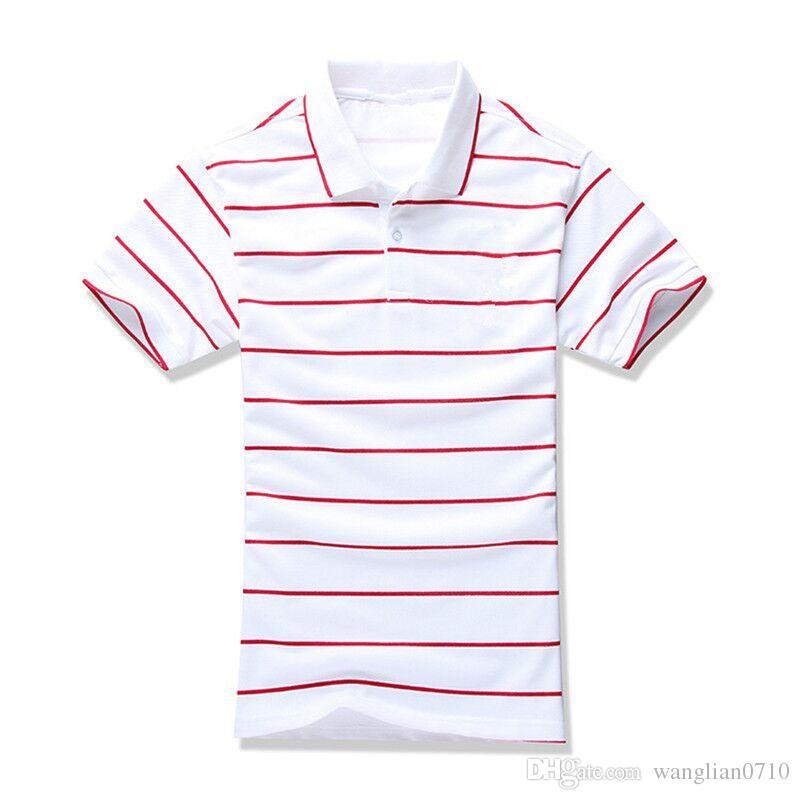 Sommer neue Marke Männer Streifen Polo-Shirt für Männer Polos Männer Top Stickerei 100% Baumwolle Kurzarm-Shirt Trikots
