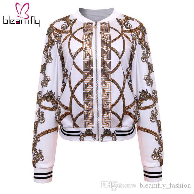 Or Pour Printemps Bomber Casual Basic Dames Les Femmes De Baseball Rétro Blanc Noir Outwear Vestes Manteau Automne Femme Imprimer Chaîne FK3TlcJ1