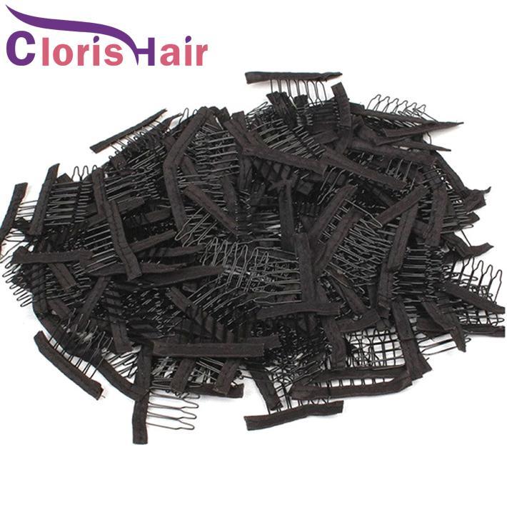 Viculos de peruca de laço de aço inoxidável 6 dentes poliéster Durable pano peruca pentes para capas de cabelo acessórios de peruca ferramentas de extensão do cabelo 10-