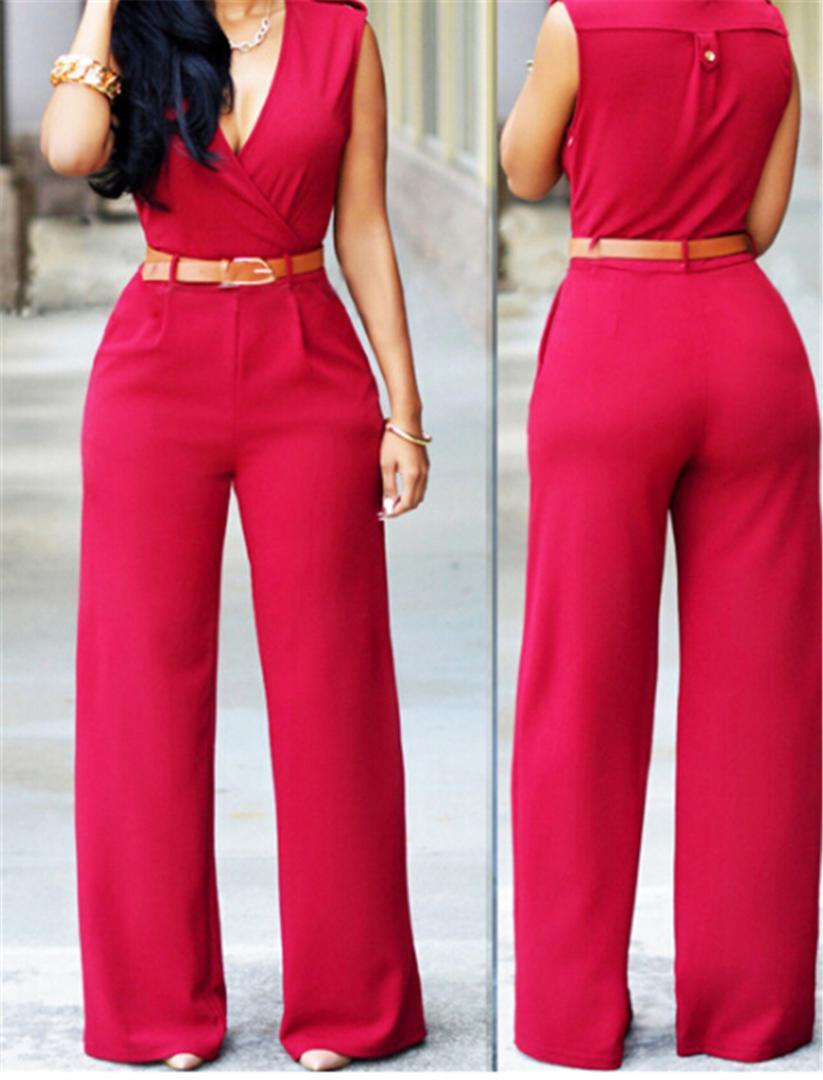 b8aee779609e Fashion Womens Summer Long Jumpsuit Rompers Sexy Deep V Body Feminino  Overalls Bodysuits With Pocket With Belt