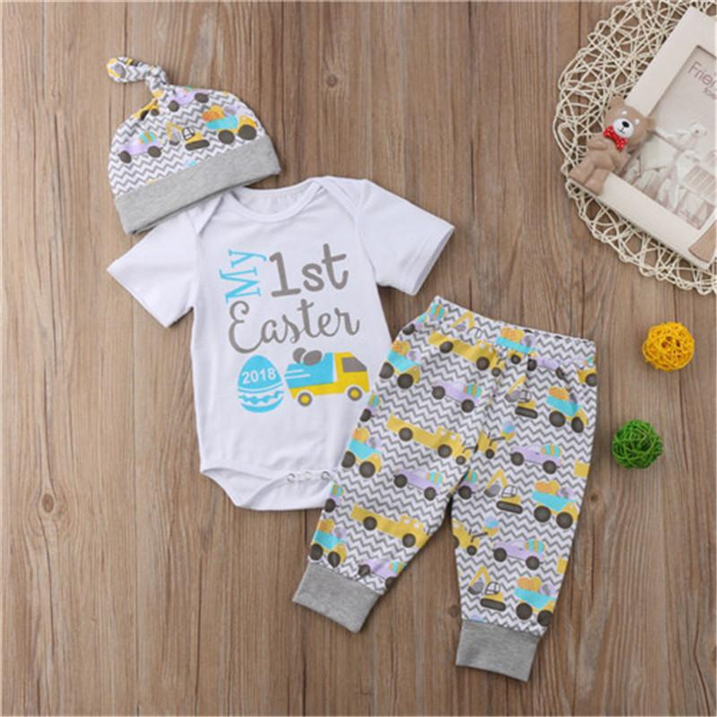 cc0876c1c74 2019 Cute Baby Easter Outfits Newborn Infant Boy Girl Romper+Pants Hat  Summer Cloth Kid Baby Boys Girls Cute Clothing Sets 0 24Month From  Cornemiu